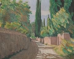 niels_larsen_stevns__vej_mellem_mure__cypresser__villa_linda__1923__privateje_jpeg
